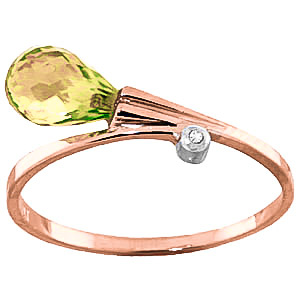 Peridot & Diamond Droplet Ring in 18ct Rose Gold