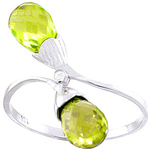 Peridot & Diamond Duo Ring in Sterling Silver