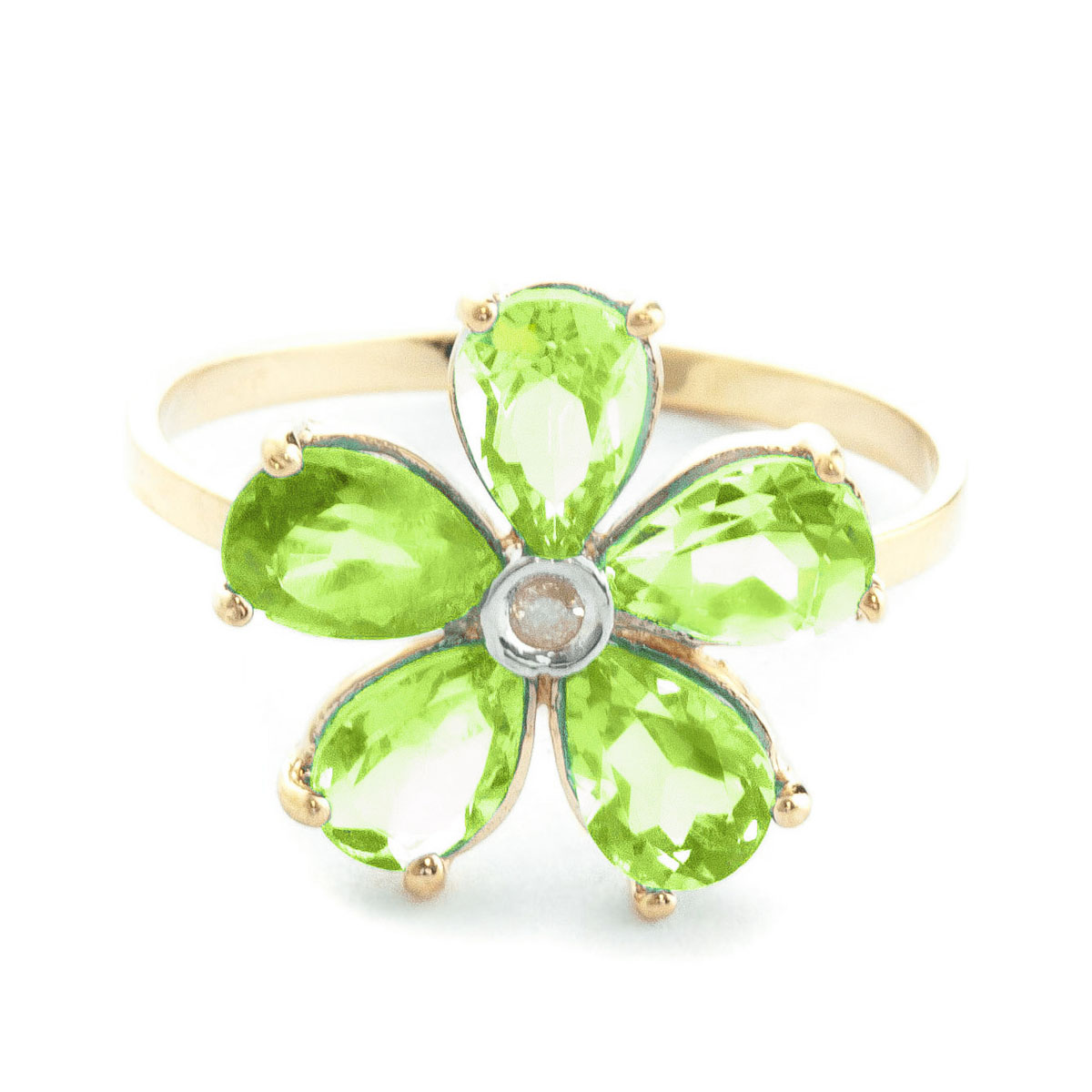 Peridot & Diamond Five Petal Ring in 9ct Gold