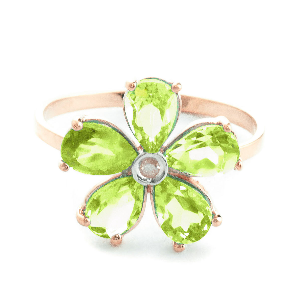 Peridot & Diamond Five Petal Ring in 9ct Rose Gold