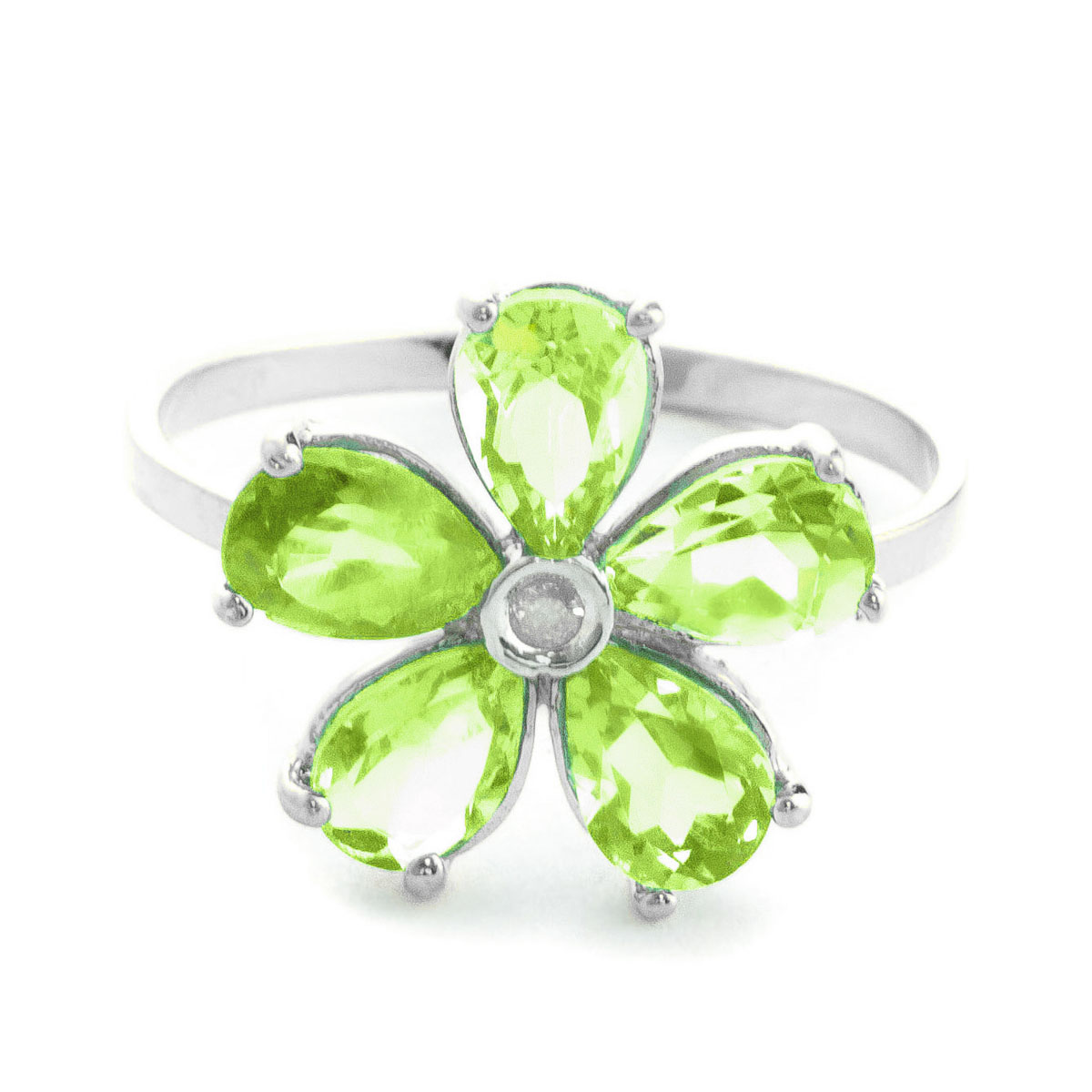 Peridot & Diamond Five Petal Ring in Sterling Silver
