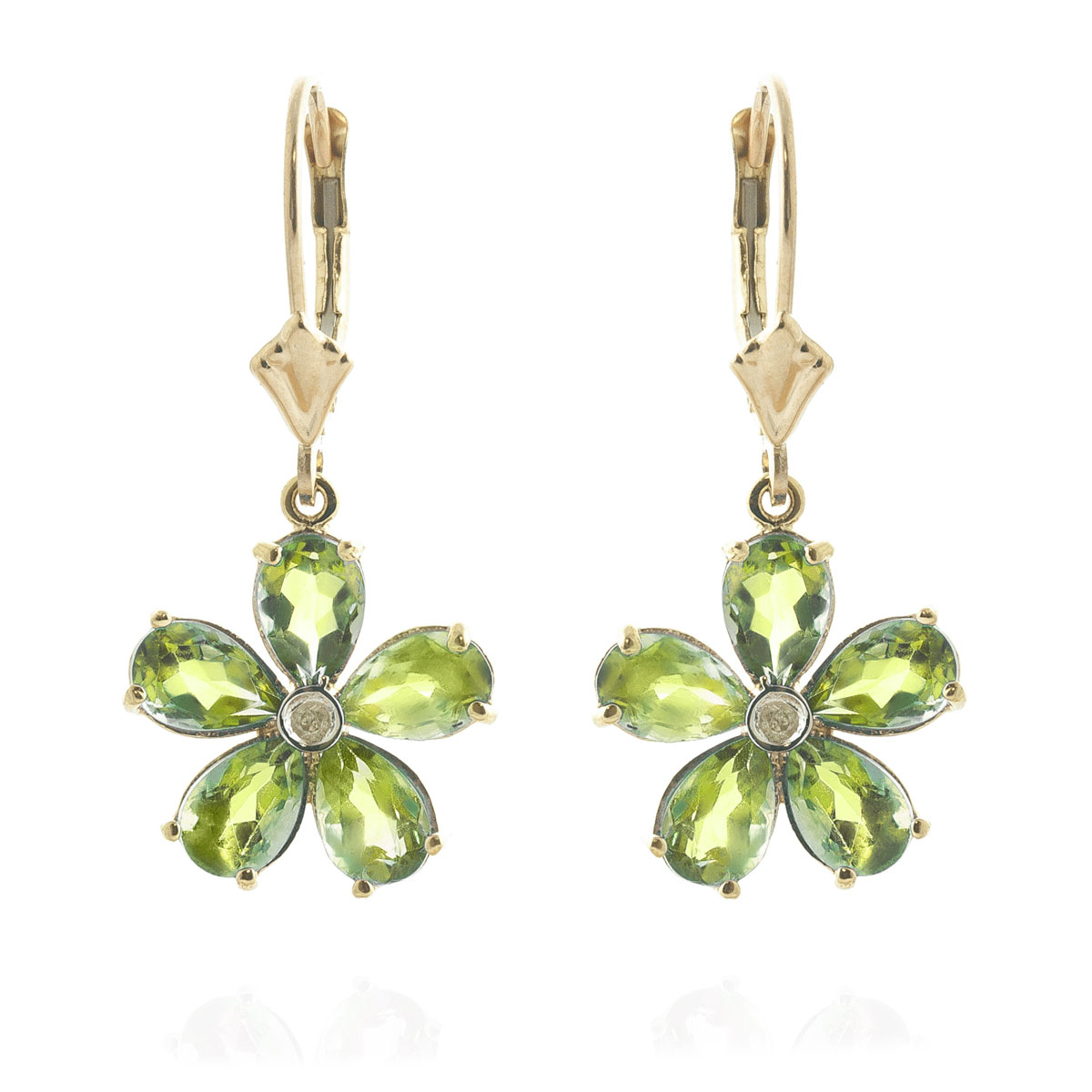 Peridot & Diamond Flower Petal Drop Earrings in 9ct Gold