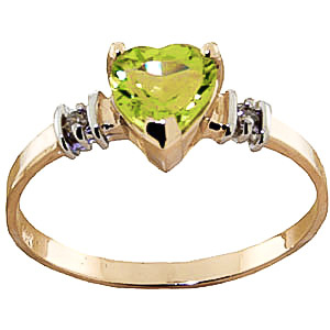 Peridot & Diamond Heart Ring in 9ct Gold
