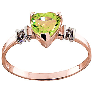 Peridot & Diamond Heart Ring in 9ct Rose Gold