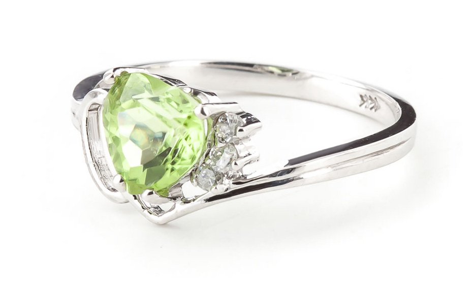 Peridot & Diamond Passion Ring in 9ct White Gold