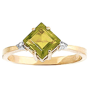 Peridot & Diamond Princess Ring in 9ct Gold