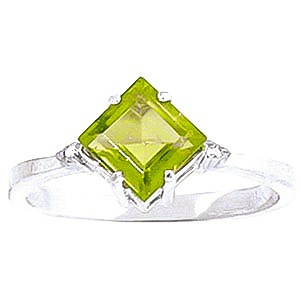 Peridot & Diamond Princess Ring in 18ct White Gold
