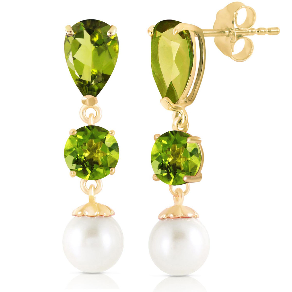 Peridot & Pearl Droplet Earrings in 9ct Gold