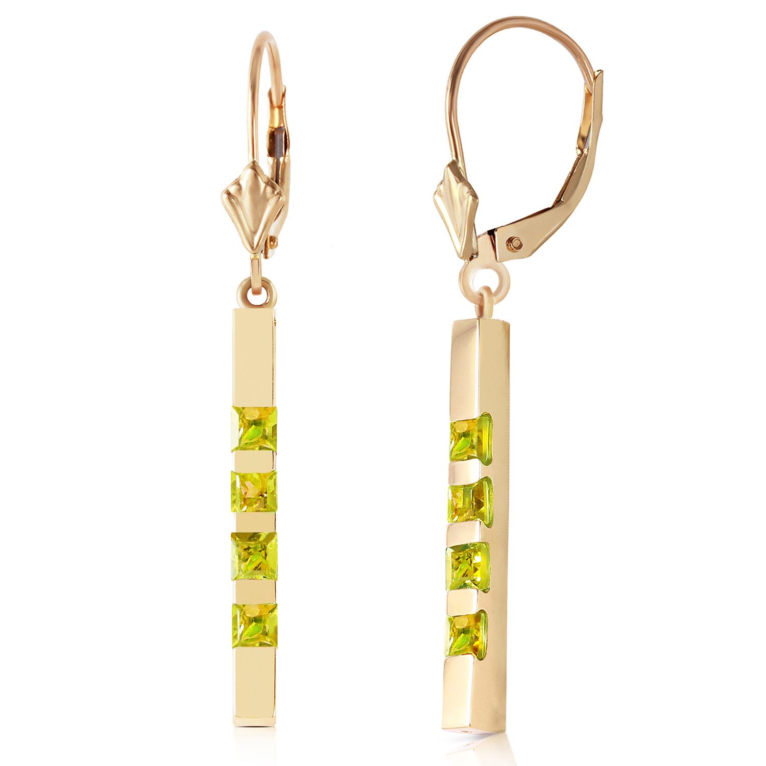 Peridot Bar Drop Earrings 0.7 ctw in 9ct Gold