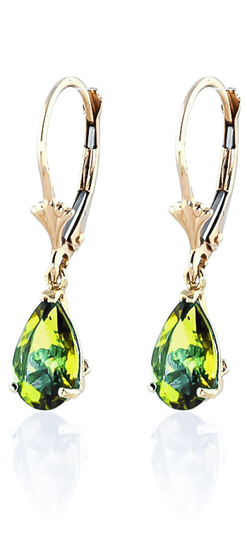 Peridot Belle Drop Earrings 3 ctw in 9ct Gold