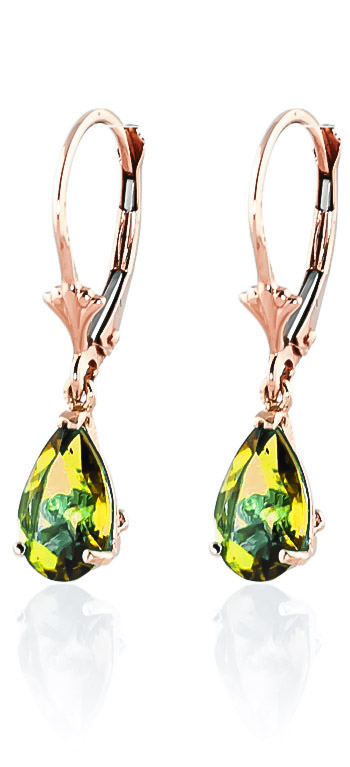 Peridot Belle Drop Earrings 3 ctw in 9ct Rose Gold