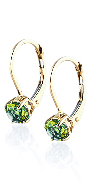 Peridot Boston Drop Earrings 1.2 ctw in 9ct Gold