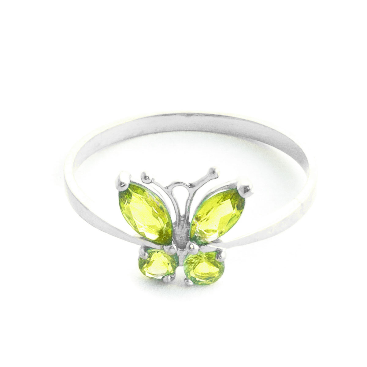 Peridot Butterfly Ring 0.6 ctw in 18ct White Gold