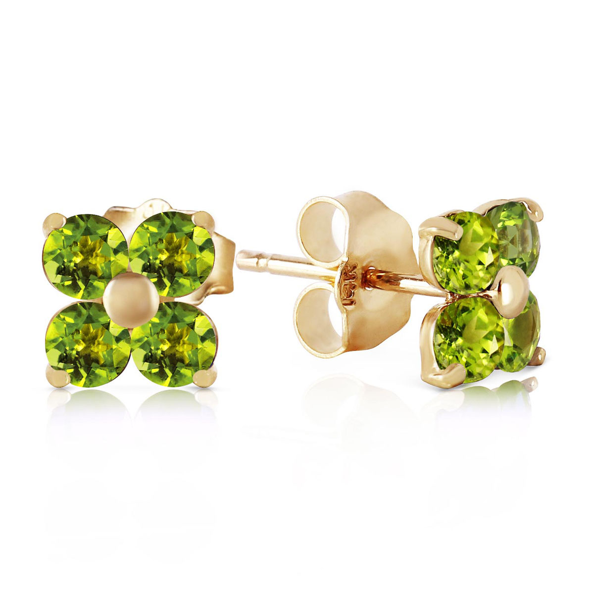 Peridot Clover Stud Earrings 1.15 ctw in 9ct Gold