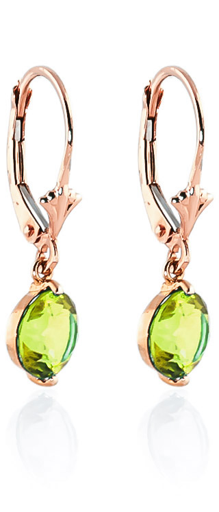 Peridot Drop Earrings 3.1 ctw in 9ct Rose Gold