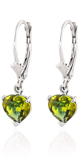 Peridot Drop Earrings 3.25 ctw in 9ct White Gold