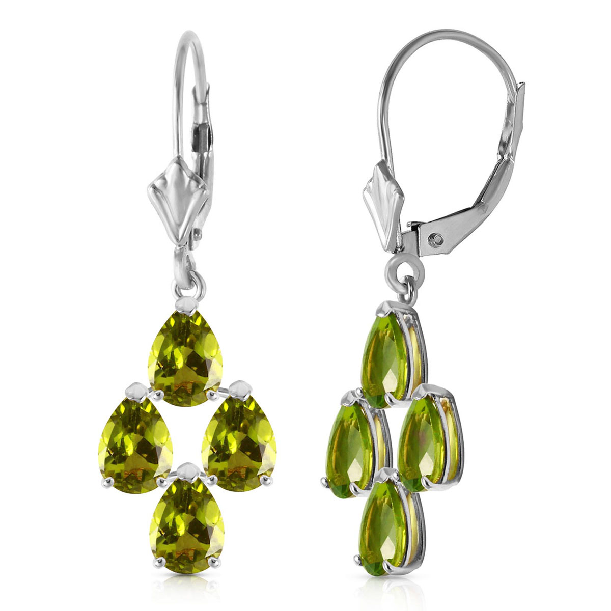 Peridot Drop Earrings 4.5 ctw in 9ct White Gold