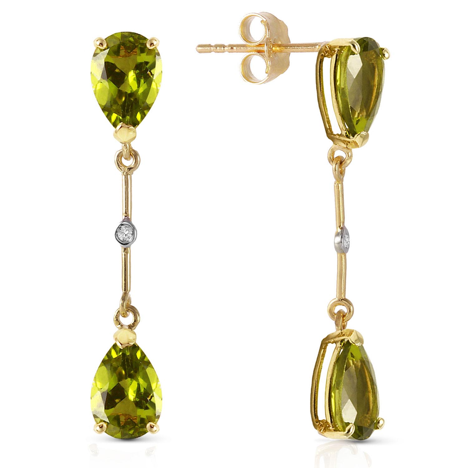 Peridot Drop Earrings 6.01 ctw in 9ct Gold