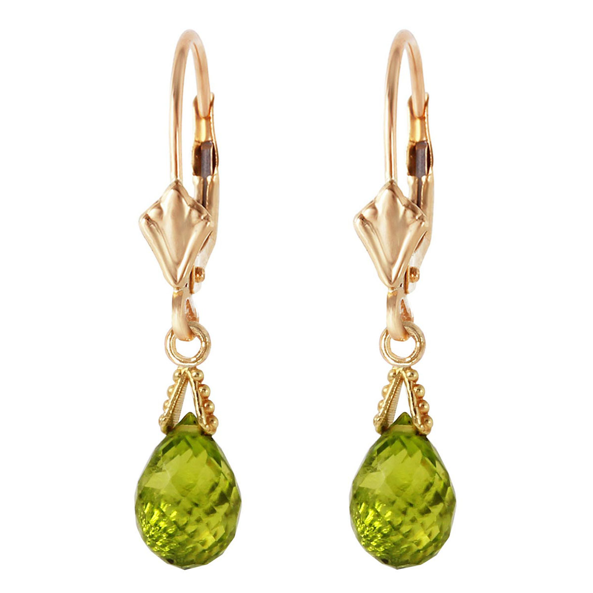 Peridot Droplet Earrings 4.5 ctw in 9ct Gold