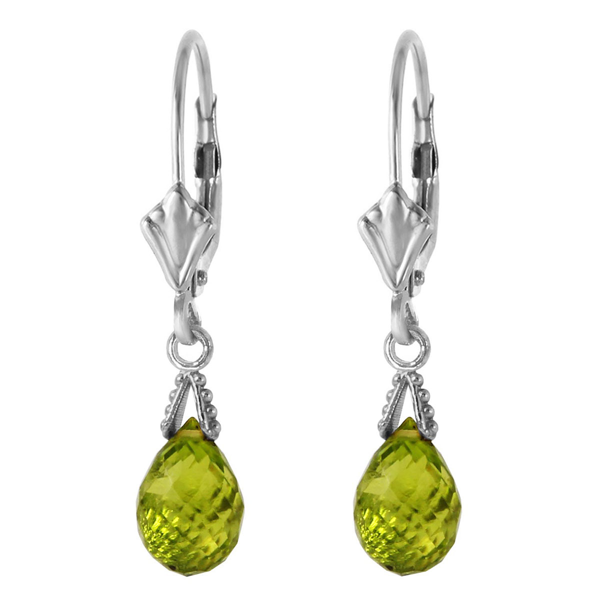 Peridot Droplet Earrings 4.5 ctw in 9ct White Gold