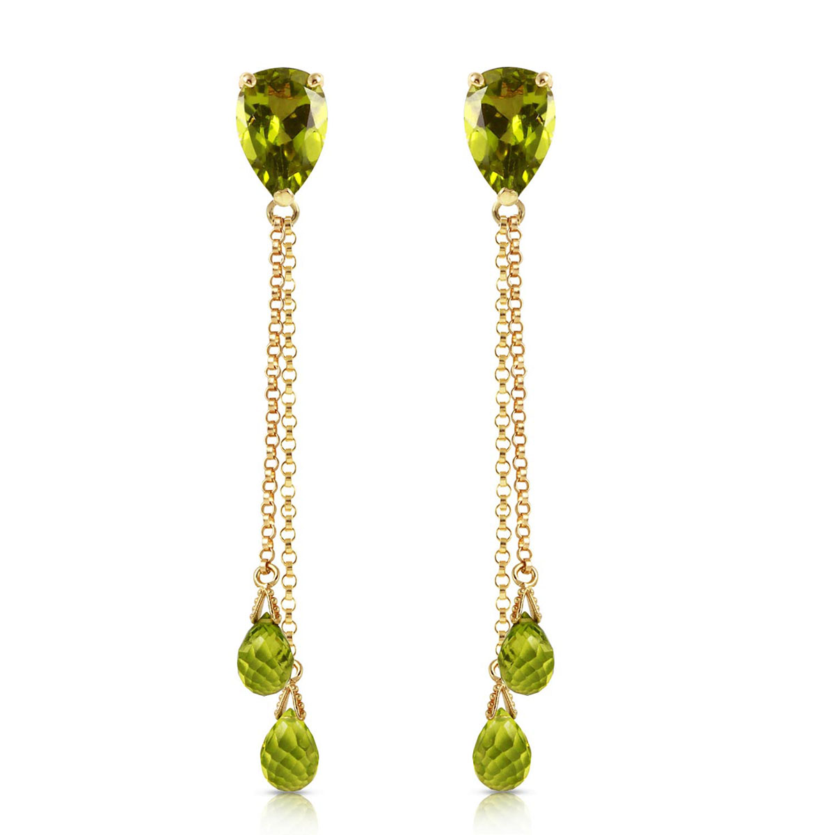 Peridot Droplet Earrings 7.5 ctw in 9ct Gold
