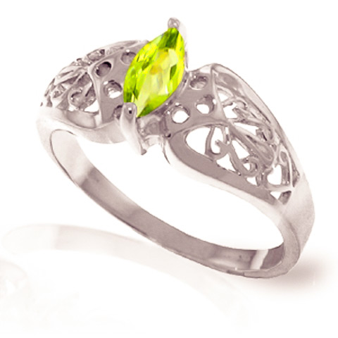Peridot Filigree Ring 0.2 ct in 18ct White Gold