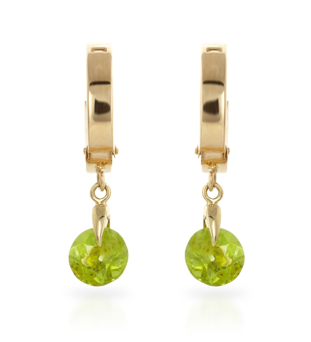 Peridot Huggie Drop Earrings 2 ctw in 9ct Gold