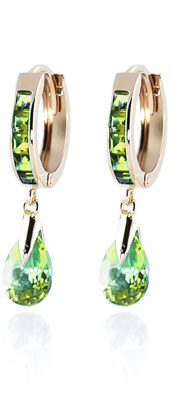 Peridot Huggie Drop Earrings 3.9 ctw in 9ct Gold