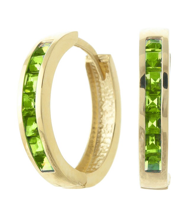 Peridot Huggie Earrings 1.4 ctw in 9ct Gold