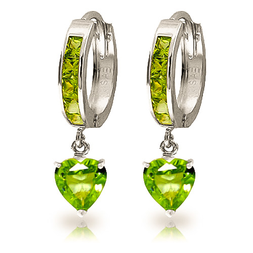 Peridot Huggie Earrings 4.1 ctw in 9ct White Gold
