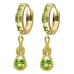 Peridot Loop Knot Huggie Earrings 1 ctw in 9ct Gold