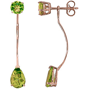Peridot Lure Drop Earrings 4.2 ctw in 9ct Rose Gold