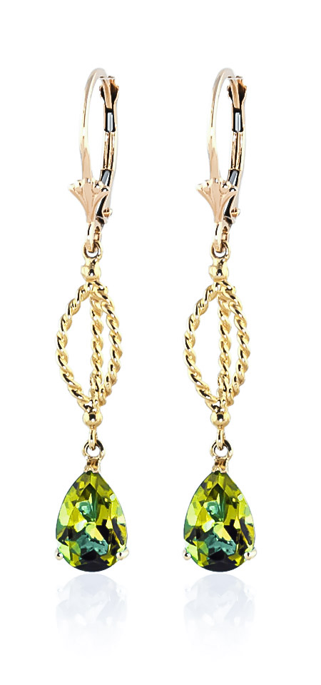 Peridot Sceptre Drop Earrings 3 ctw in 9ct Gold