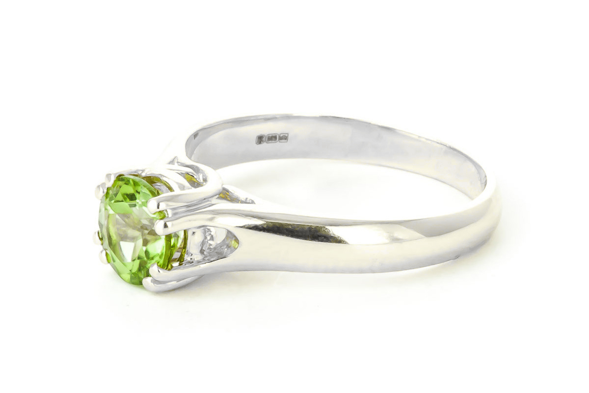 Peridot Solitaire Ring 1.1 ct in 9ct White Gold