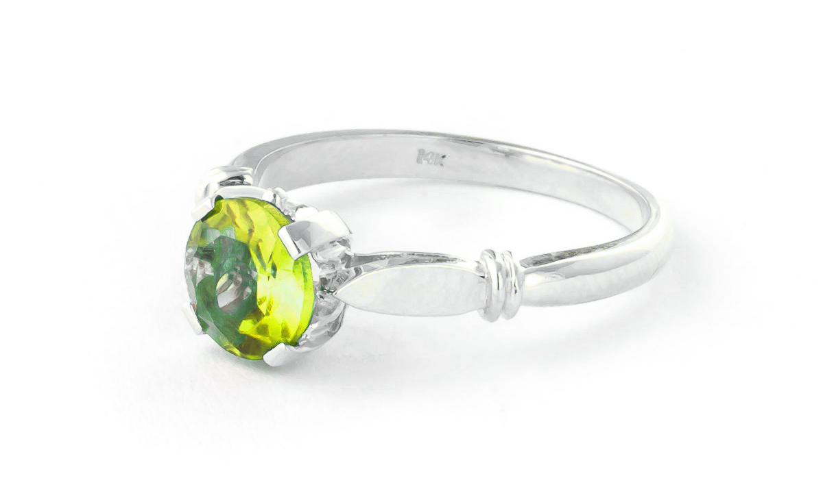Peridot Solitaire Ring 1.15 ct in 18ct White Gold