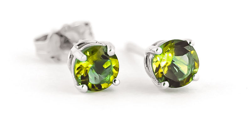 Peridot Stud Earrings 0.95 ctw in 9ct White Gold