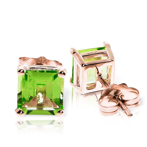 Peridot Stud Earrings 1.75 ctw in 9ct Rose Gold
