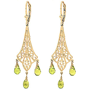 Peridot Trilogy Drop Earrings 4.5 ctw in 9ct Gold