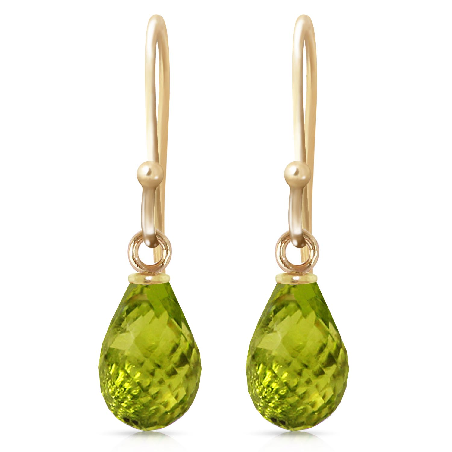 Peridot Zeal Drop Earrings 2.7 ctw in 9ct Gold