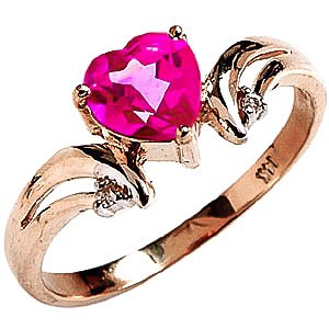 Pink Topaz & Diamond Affection Heart Ring in 9ct Gold