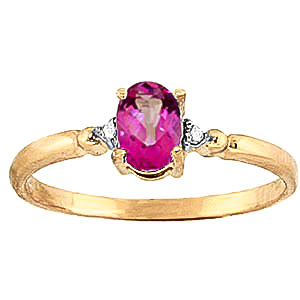 Pink Topaz & Diamond Allure Ring in 9ct Gold