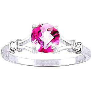 Pink Topaz & Diamond Aspire Ring in 18ct White Gold