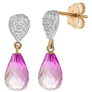 Pink Topaz & Diamond Droplet Earrings in 9ct Gold