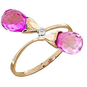 Pink Topaz & Diamond Duo Ring in 18ct Gold