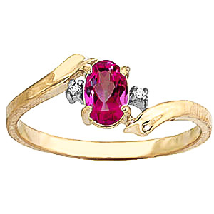 Pink Topaz & Diamond Embrace Ring in 9ct Gold