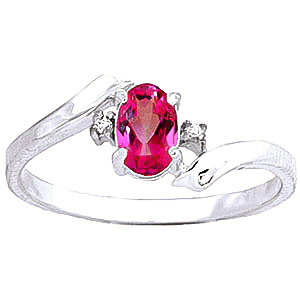 Pink Topaz & Diamond Embrace Ring in 9ct White Gold