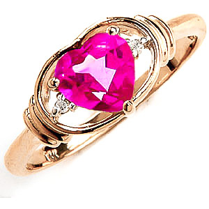 Pink Topaz & Diamond Halo Heart Ring in 18ct Gold