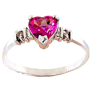Pink Topaz & Diamond Heart Ring in 18ct Rose Gold