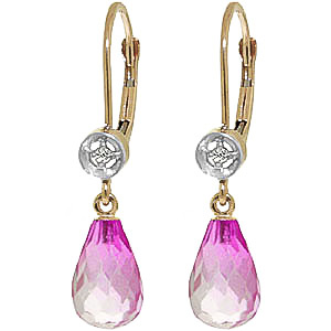 Pink Topaz & Diamond Illusion Drop Earrings in 9ct Gold