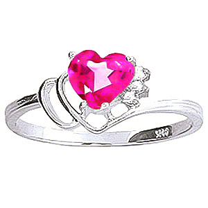Pink Topaz & Diamond Passion Ring in 9ct White Gold